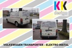 Elektro instal volkswagen tranporter t5 oklejony folia reklamowa tył