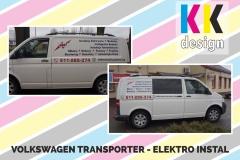 Elektro instal volkswagen tranporter t5 oklejony folia reklamowa boki