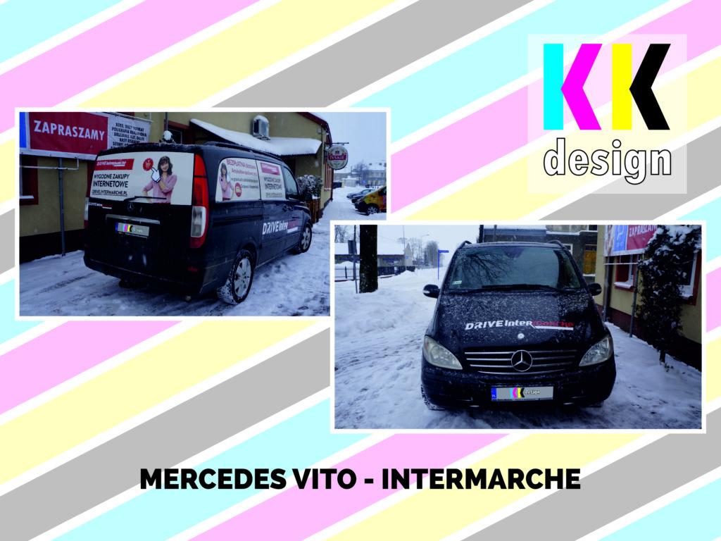 Zdjęcia realizacji oklejenia samochodu mercedes vito pod brandem intermache przód i bok od tyłu
