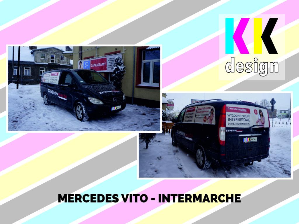 Zdjęcia realizacji oklejenia samochodu mercedes vito pod brandem intermache bok od przodu i bok od tyłu